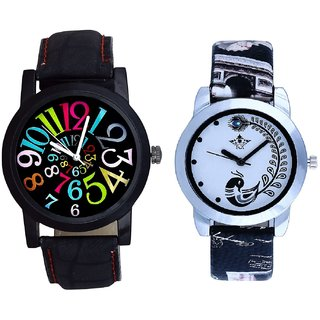 Spanish Special Colour Digit And Black Peacock Feathers Couple Casual Analogue Watch By VB INTERNATIONAL