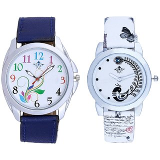 Colouring Flowers And White Peacock Feathers Couple Casual Analogue Wrist Watch By VB INTERNATIONAL