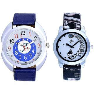 Almight Blue Round Dial And Black Peacock Feathers Couple Casual Analogue Watch By VB INTERNATIONAL