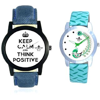 Power Of Positive Thinking And Green Peacock Couple Casual Analogue Wrist Watch By VB INTERNATIONAL
