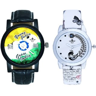 Young India Grow India And White Peacock Feathers Couple Casual Analogue Wrist Watch By VB INTERNATIONAL