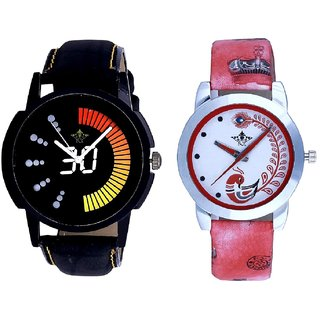Attractive Race Dial And Red Peacock Colour Couple Casual Analogue Wrist Watch By VB INTERNATIONAL