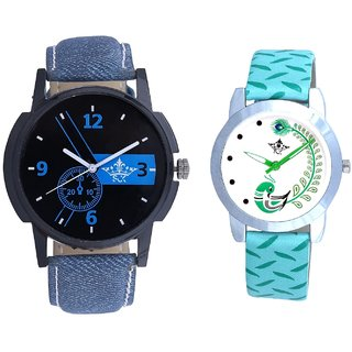 Attractive Blue Dial And Green Peacock Couple Casual Analogue Wrist Watch By VB INTERNATIONAL
