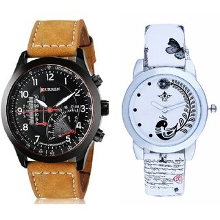 Curren Meter Leather Hand Strap And White Peacock Feathers Couple Casual Analogue Wrist Watch By VB INTERNATIONAL
