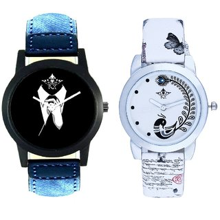 Professional Men And White Peacock Feathers Couple Casual Analogue Wrist Watch By VB INTERNATIONAL
