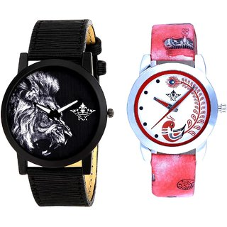 White Lion And Red Peacock Colour Couple Casual Analogue Wrist Watch By VB INTERNATIONAL