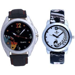 Goal Achived Art And Black Peacock Feathers Couple Casual Analogue Watch By VB INTERNATIONAL