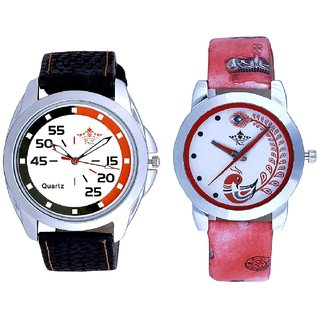 Orange Black Multi Dial And Red Peacock Colour Couple Casual Analogue Wrist Watch By VB INTERNATIONAL
