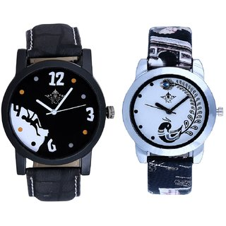 Goal Achived Motivated And Black Peacock Feathers Couple Casual Analogue Watch By VB INTERNATIONAL