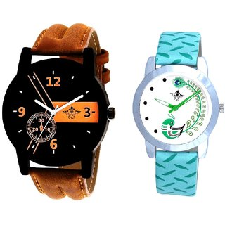 Luxury Brown Leather Strap And Green Peacock Couple Casual Analogue Wrist Watch By VB INTERNATIONAL