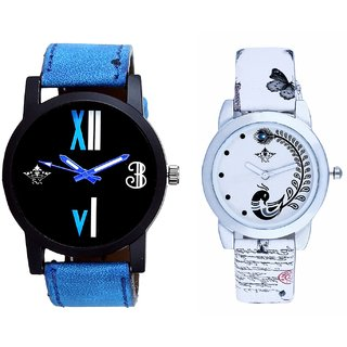 Roman White - Blue Fancy And White Peacock Feathers Couple Casual Analogue Wrist Watch By VB INTERNATIONAL