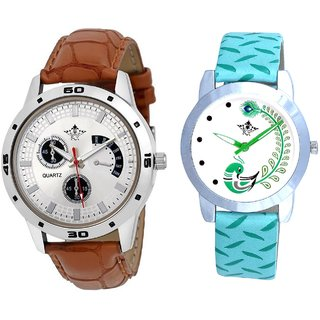 Designer Brown Leather And Green Peacock Couple Casual Analogue Wrist Watch By VB INTERNATIONAL