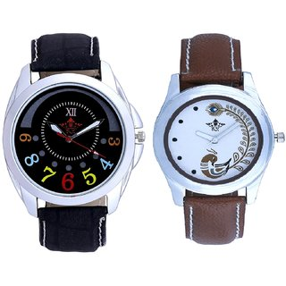 Classical Black Round Dial And Brown Peacock Feathers Colour Couple Casual Analogue Watch By VB INTERNATIONAL