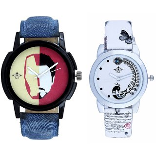 Rocky Men's And White Peacock Feathers Couple Casual Analogue Wrist Watch By VB INTERNATIONAL