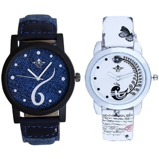 Sports Sixth Art Design And White Peacock Feathers Couple Casual Analogue Wrist Watch By VB INTERNATIONAL