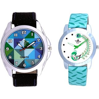 Royal Sky Colour Art And Green Peacock Couple Casual Analogue Wrist Watch By VB INTERNATIONAL