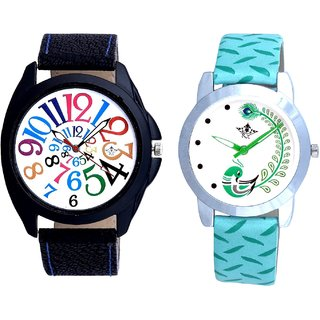 Addition Multi Colour Digits And Green Peacock Couple Casual Analogue Wrist Watch By VB INTERNATIONAL