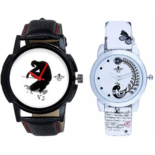 Fancy White Dial And White Peacock Feathers Couple Casual Analogue Wrist Watch By VB INTERNATIONAL