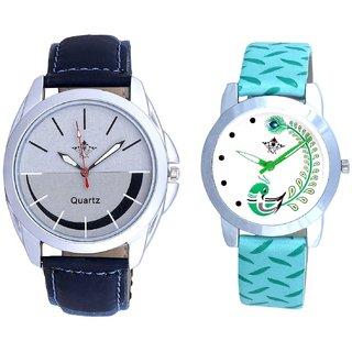 Royal Silver-Black Dial And Green Peacock Couple Casual Analogue Wrist Watch By VB INTERNATIONAL
