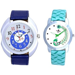 Almight Blue Round Dial And Green Peacock Couple Casual Analogue Wrist Watch By VB INTERNATIONAL