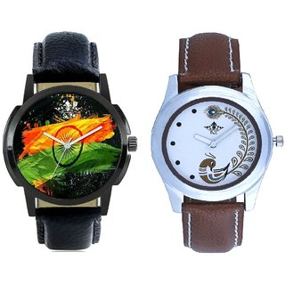 Indian Flage And Brown Peacock Feathers Colour Couple Casual Analogue Watch By VB INTERNATIONAL