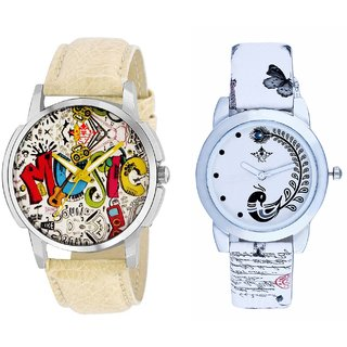 Rock Music And White Peacock Feathers Couple Casual Analogue Wrist Watch By VB INTERNATIONAL