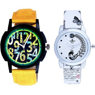Awesome Exclusive Digits And White Peacock Feathers Couple Casual Analogue Wrist Watch By VB INTERNATIONAL