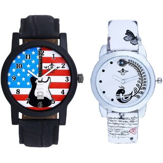 Exclusive USA Design And White Peacock Feathers Couple Casual Analogue Wrist Watch By VB INTERNATIONAL