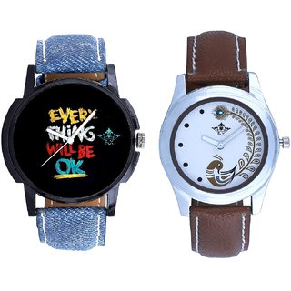 Every Thinke Will Be Ok And Brown Peacock Feathers Colour Couple Casual Analogue Watch By VB INTERNATIONAL
