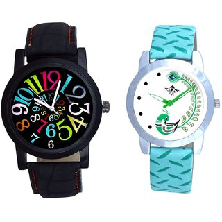 Spanish Special Colour Digit And Green Peacock Couple Casual Analogue Wrist Watch By VB INTERNATIONAL