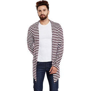 Chill Winston Maroon and White Stripe Cotton Shrug For Men