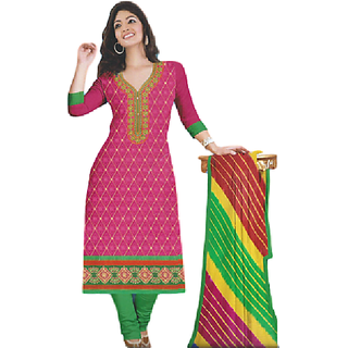 SrishtiCreations Woman's 100 Glace cotton Unstitched Salwar Suit With JodhPuri Dupatta