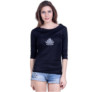 Abloom Black Plain Round Neck Tshirts  For Women