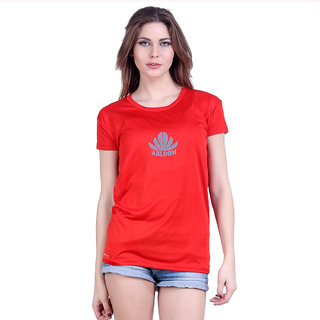 Abloom Red Plain Round Neck Tshirts  For Women