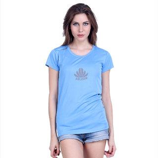 Abloom Blue Plain Round Neck Tshirts  For Women