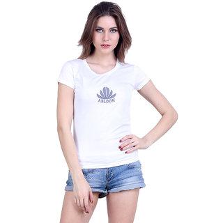 Abloom White Plain Round Neck Tshirts  For Women