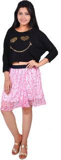 Rivi Women's Pink Chiffon Skirt