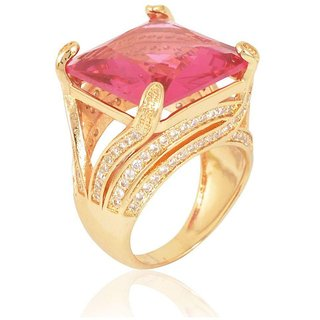Sanaa Creations Gold Plated Alloy Pink Diamond Ring for Women and Girls