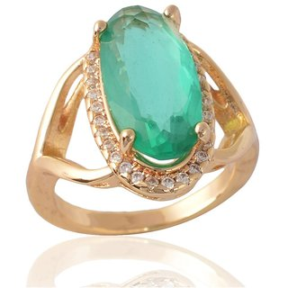 Sanaa Creations Turquoise Color Gold Plated Rings for Girls and Women Jewellery