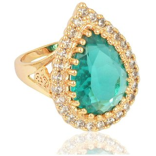 Sanaa Creations Gold Plated Alloy Turquoise Color Ring for Women