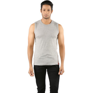 Solo Mens Designer Round Neck Cotton Casual Sleeveless Muscle Tee Vest Grey Melange Color