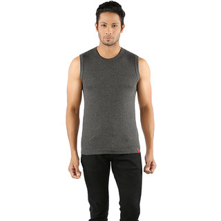 Solo Mens Designer Round Neck Cotton Casual Sleeveless Muscle Tee Vest Charcoal Melange Color