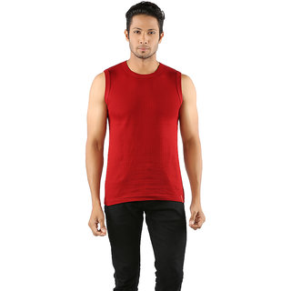 Solo Mens Designer Round Neck Cotton Casual Sleeveless Muscle Tee Vest Red Color