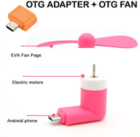 Combo of OTG Fan and OTG Adapter For OTG Supported Android Smartphones and Tablets Genuine Product Best offer