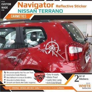 Navigator Reflective Stickers For Nissan Terrano - White - Carmetics