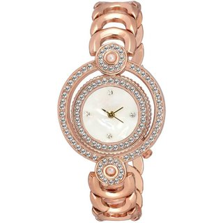 TC 09 Double Round Copper Latest Design Copper Color Analog Watch for Girls and Women
