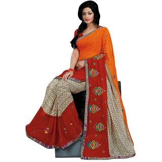 Triveni Red Faux Georgette Lace Saree With Blouse