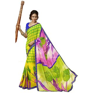 Triveni Multicolor Faux Georgette Printed Saree With Blouse