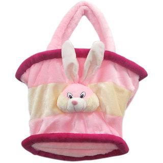 dealbindaas Multi Utility Cum Diaper Bag Soft Teddy Bag (Pink Cream)