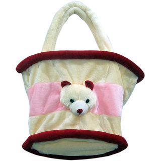 dealbindaas Multi Utility Cum Diaper Bag Soft Teddy Bag Cream (Cream & Pink)